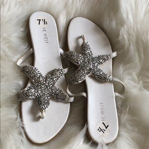 White and silver sequence starfish sandals